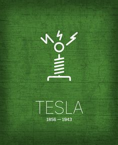 "Minimalist Famous Scientists & Inventors Tesla artwork by artist ""Design Turnpike"". Part of a set featuring minimalist designs base."
