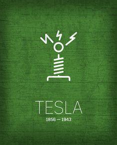 "Minimalist Famous Scientists & Inventors Tesla artwork by artist ""Design Turnpike"". Part of a set featuring minimalist designs base."