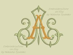 Double antique monograms from old books A & A. Embroidery design. Two monogram A and A, intertwined. AA. FOUR sizes. Hoop 4x4 5x7 6x10