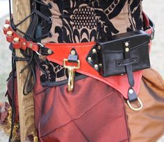 Steampunk Utility Leather Belt Red and Black