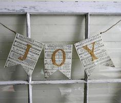 Christmas Banner Garland JOY  Recycled Book by CarolinaVintageCo, $6.00