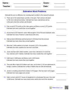 Estimating Sums and Differences 4 Digits Word Problems