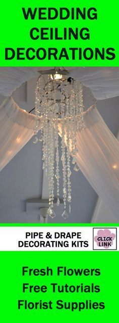 http://www.wedding-flowers-and-reception-ideas.com/wedding-ceiling-decor.html   Elegant pipe and drape kits for covering up wedding ceilings.