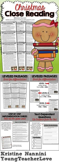 This resource contains EVERYTHING you will need to implement close reading in… Reading Activities, Christmas Activities, Reading Skills, Teaching Reading, Second Grade Writing, Third Grade Reading, Benchmark Literacy, Leveled Readers, Readers Theater
