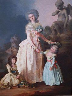 Henri Nicolas van Gorp (Paris 1756 - 1819). Portrait de Charles Constantin Gravier, comte de Vergennes (1761- 1832). Portrait de son épouse et de leurs filles. Paire de toiles d origine, sur leurs châssis d origine. 100 x 81 cm.