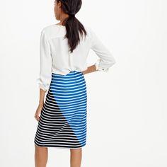 Colorblock Stripe Skirt in Navy [back] (J Crew)