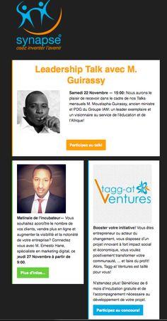 Newsletter des événements de novembre à Synapse Center Dakar Sénégal