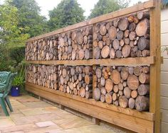 I really love wood things for that i made this article 15 Mind Blowing Cordwood Fences That Will Amaze You which I hope you will like it. I really love wood things for that i made this article Backyard Fences, Garden Fencing, Backyard Landscaping, Outdoor Projects, Garden Projects, Log Fence, Log Wall, Gabion Wall, Wood Shed