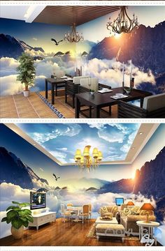Image of Cloud sea peak theme space entire room wallpaper wall mural decal Large Wall Murals, Wall Mural Decals, Ceiling Murals, Floor Murals, Floor Art, Wallpaper Wall, Scenery Wallpaper, Wall Decor, Room Decor