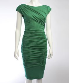 Take a look at this Emerald Green Desdemona Cap-Sleeve Dress on zulily today!