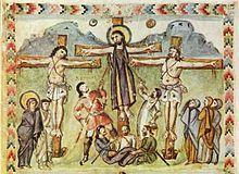 Sainte Lance —Enluminure de l'Évangéliaire syriaque de Rabula (586).