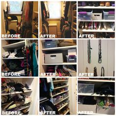 Women love their shoes, but if you can't see them, you can't find them. This master closet was reworked with slimline hangers, accessory bins, adjusted shelving, and an easy jewelry solution.