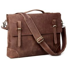 Vintage Handmade Crazy Horse Leather Briefcase / Messenger / 14 Laptop 15 MacBook Bag