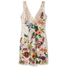 Barbara Bela Italian Tulle Sequined Dress ($5,040) ❤ liked on Polyvore featuring dresses, v neck sequin dress, tulle cocktail dress, floral dress, floral print cocktail dress and plunging v neck dress