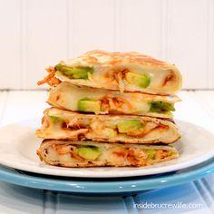 BBQ Chicken & Avocado Quesadillas 2 whole flour tortillas 1/2 c. mozzarella cheese 4 Tbsp. shredded chicken 2 Tbsp. BBQ sauce 1/2 c. avocado chunks