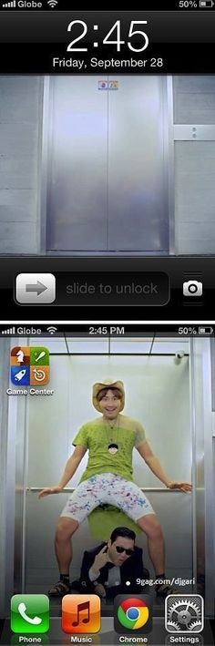 slide to unlock gangnam style... i see what you did there