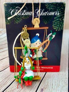 "b2d0c6320 NEW IN BOX SANTA'S BEST CHRISTMAS CHARMERS ORNAMENT ""TRIMMING THE  MISTLETOE"" ELF   eBay"