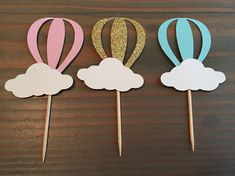 12 gold glitter hot air balloon cupcake toppers baby shower