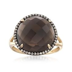 Ross-Simons - 8.00 Carat Smoky Quartz and .18 ct. t.w. Brown Diamond Ring in 14kt Yellow Gold - #832913