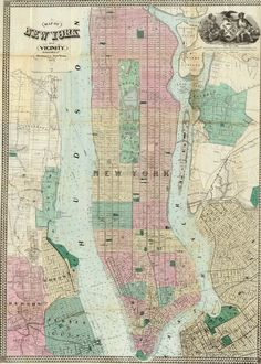 Map Of New York and Vicinity. Published By M. Dripps, New York. 1863.