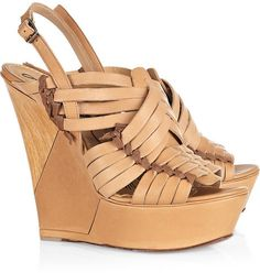 Lanvin Braided leather wedge sandals
