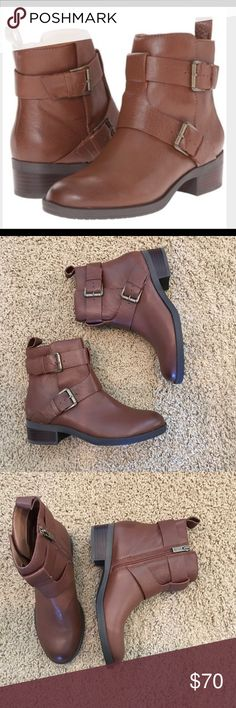 Kennith Cole Brown leather booties Sz 7 New Gorgeous brown leather booties with straps very comfy new NEVER used Kenneth Cole Reaction Shoes Ankle Boots & Booties