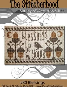 NEW Thanksgiving Autumn Primitive Cross Stitch Pattern Sampler 80