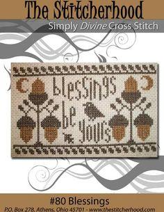 NEW Thanksgiving Autumn Primitive Cross Stitch Pattern Sampler 80