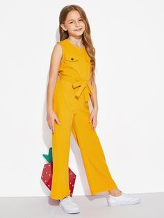 Girls Zip Front Sleeveless Belted Jumpsuit | SHEIN Dresses Kids Girl, Kids Outfits Girls, Cute Girl Outfits, Cute Dresses, Girls Fashion Clothes, Tween Fashion, Fashion Outfits, Dress Fashion, Jumpsuits For Girls