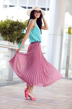 Pleated Retro Purple Red Chiffon Skirt by Sophiaclothing