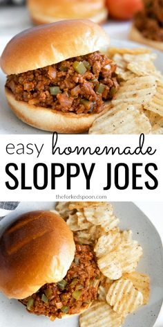 The very BEST Homemade Sloppy Joes Recipe! Made with simple ingredients including ground beef onion green bell pepper ketchup and tomato paste these childhood favorite sloppy joes take just 30 minutes to make freeze perfectly and are loved by all ages. Best Homemade Sloppy Joe Recipe, Healthy Sloppy Joe Recipe, Healthy Sloppy Joes, Homemade Sloppy Joes, Sloppy Joes Recipe, Simple Sloppy Joe Recipe, Vegetarian Sloppy Joes, Green Pepper Recipes, Loose Meat Sandwiches