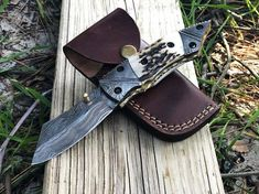 Small Pocket Knives, Folding Pocket Knife, Folding Knives, Damascus Steel Pocket Knife, Damascus Knife, Steel Gifts, Thick Leather, Memorable Gifts, Leather Case