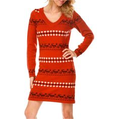White Mark Holiday Sweater Dress (€17) ❤ liked on Polyvore featuring dresses, red holiday dress, red dresses, red sweater dress, special occasion dresses and holiday dresses
