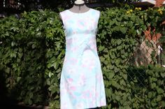 Blue and pink A-line cotton dress by WooWhoVintage on Etsy