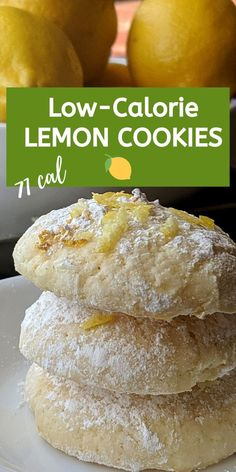 At only 71 calories, this recipe for low calorie lemon cookies will be perfect for your guilt free treat! 71 calories 14 g carbs g protein g fat Low Calorie Sweets, Low Calorie Cookies, Low Calorie Baking, Low Fat Cookies, Lemon Cookies, No Calorie Foods, Healthy Cookies, Low Calorie Recipes, Healthy Low Calorie Snacks
