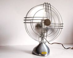 Vintage Fan Art Deco Zephyr Airkooler Chrome and Aluminum Desk Fan