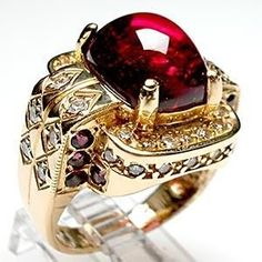 Vintage Estate Rubellite Tourmaline & Diamond Cocktail Ring by Eva