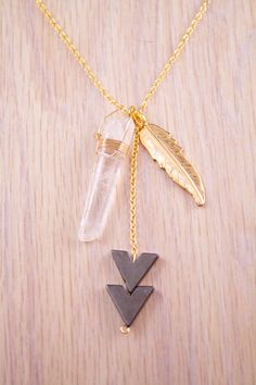 Chevron Quartz Crystal Necklace Gold by wolfcircus on Etsy, $42.00