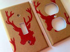 Red Deer Light Switch Cover / Deer Nursery by COUTURELIGHTPLATES Rustic deer decor, primitive deer decor, antler decor, cabin decor, man cave decor, red deer nursery, deer nursery ideas, deer nursery