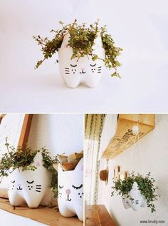 Upcycle DIY plastic bottles into cute Cat Planters Fun Crafts, Diy And Crafts, Crafts For Kids, Pop Bottles, Plastic Bottles, Recycled Bottles, Diy Projects To Try, Craft Projects, Do It Yourself Inspiration