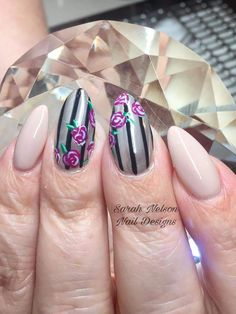 Silver and Black Stripes Nude Spring Nails #springnaildesigns #summernails