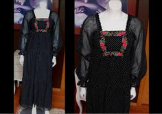 Vintage 1970s ROBERTA Longh Chiffon Black and White Polka Dot Maxi Dress Pink Floral Embroidery Great for Spring by WestCoastVintageRSL, $68.00