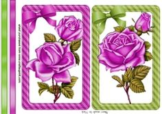 pretty cerise roses wth bows and borders card fronts on Craftsuprint - View Now!