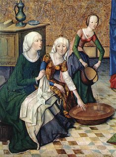 Detail from the birth of Mary,Master of the Life of the Virgin, c. 1470, Germany (Alte Pinakothek, München)