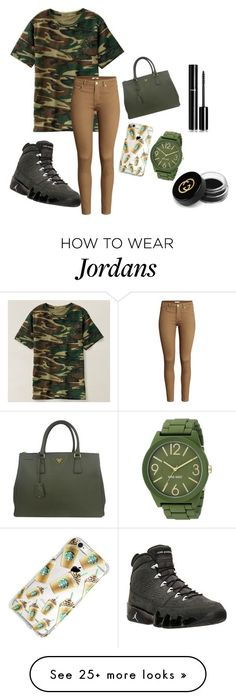 """""""Cute outfit with jordans"""" by noexes on Polyvore featuring moda, H&M, NIKE, Prada, Nine West, Chanel e Gucci"""