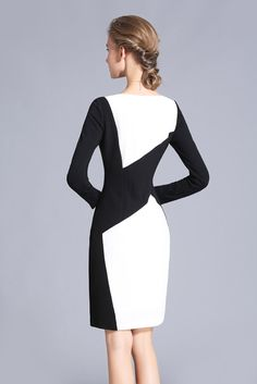 Black and White Color Block Fall Dress Custom Office Made to Measure Dress Women's Elegant Dress Contrast Color Chieflady Backless Maxi Dresses, White Maxi Dresses, Fall Dresses, Evening Dresses, Dresses For Work, Shift Dresses, Elegant Dresses For Women, Stylish Dresses, Outfit Vestido Negro