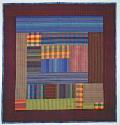 Items similar to Handmade Quilted Fiber Art Wall Hanging on Etsy Plaid Quilt, Plaid Fabric, Strip Quilts, Quilt Blocks, Log Cabin Quilts, Log Cabins, Quilt Bedding, Bed Quilts, Fiber Art Quilts