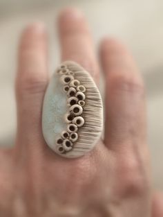 Cluster Fungus Ring Deep brownaqua and ivory. Funky by xRESEEDx