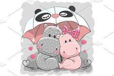 Cute Cartoon Hippos with umbrella