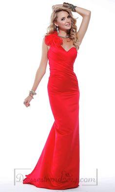 Empire Zipper One Shoulder Long Prom Dress
